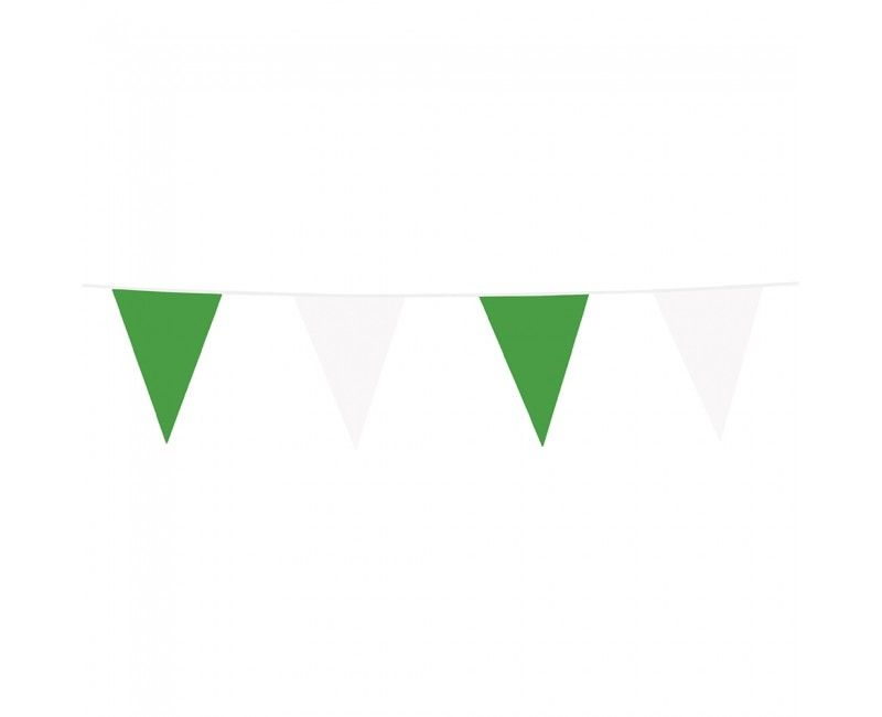 Vlaggenlijn slinger groen en wit, lengte 10 meter
