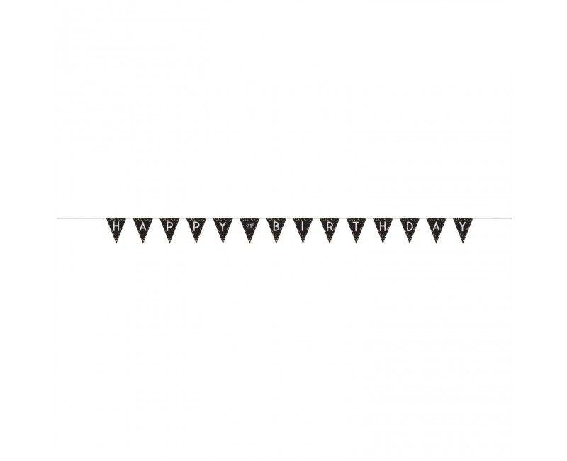 Vlaggenlijn sparkling Happy Birthday zwart zilver met leeftijdsstickers