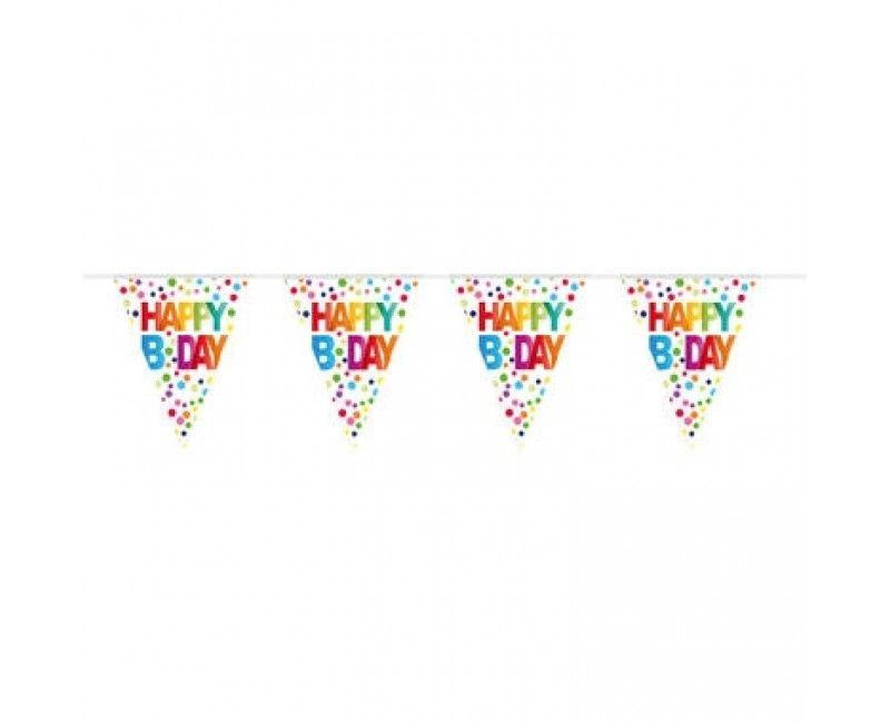 Vlaggenlijn Happy B day stippen