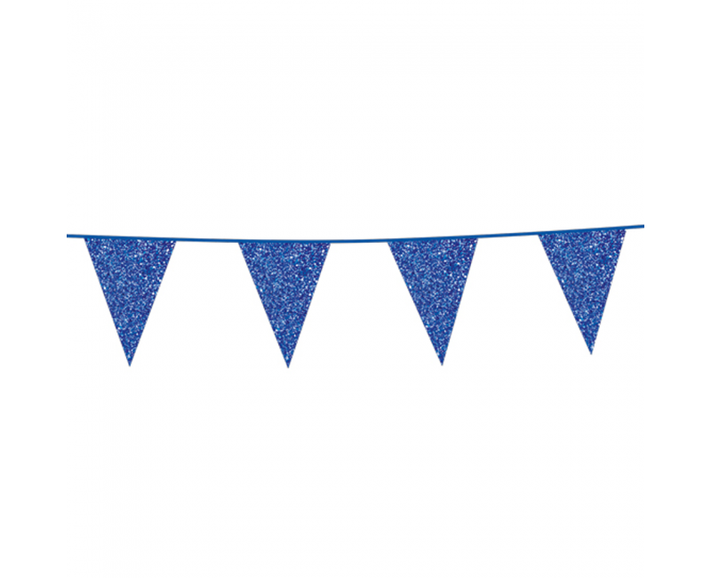 Vlaggenlijn slinger glitter blauw, 6 meter