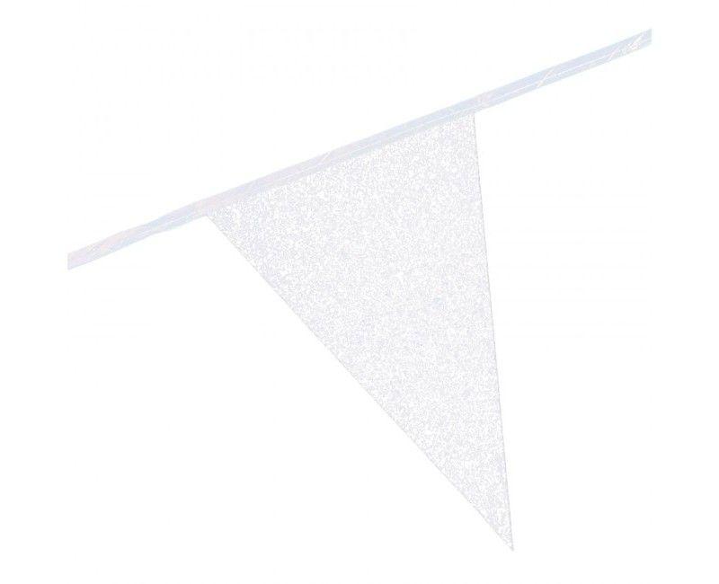 Vlaggenlijn slinger glitter wit, 6 meter