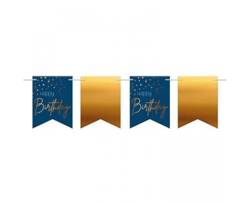 Vlaggenlijn slinger elegant true blue Happy Birtday, 6 meter