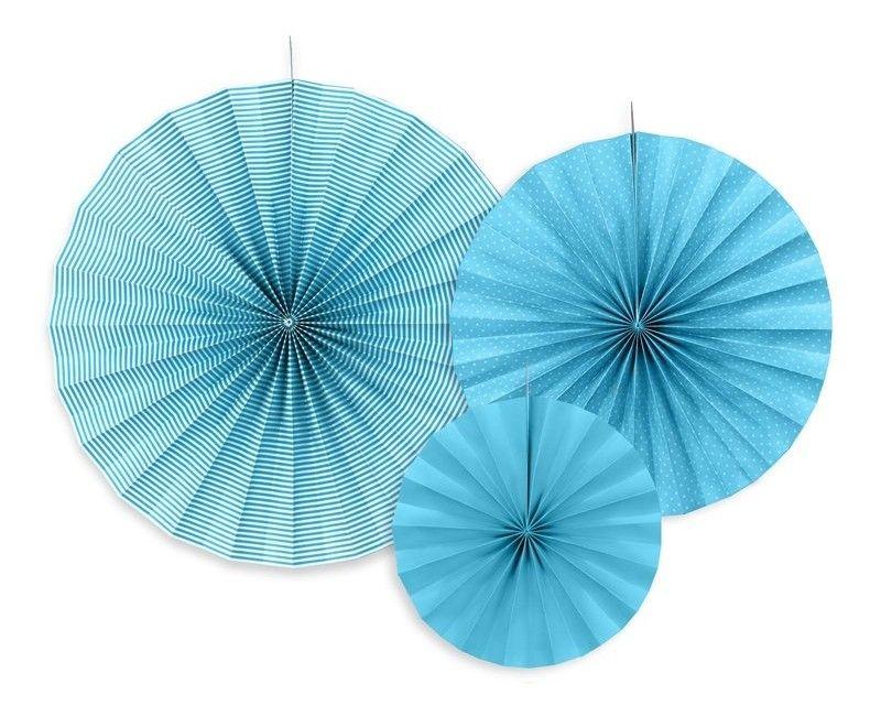 Papieren waaier lichtblauw mix, 3 stuks