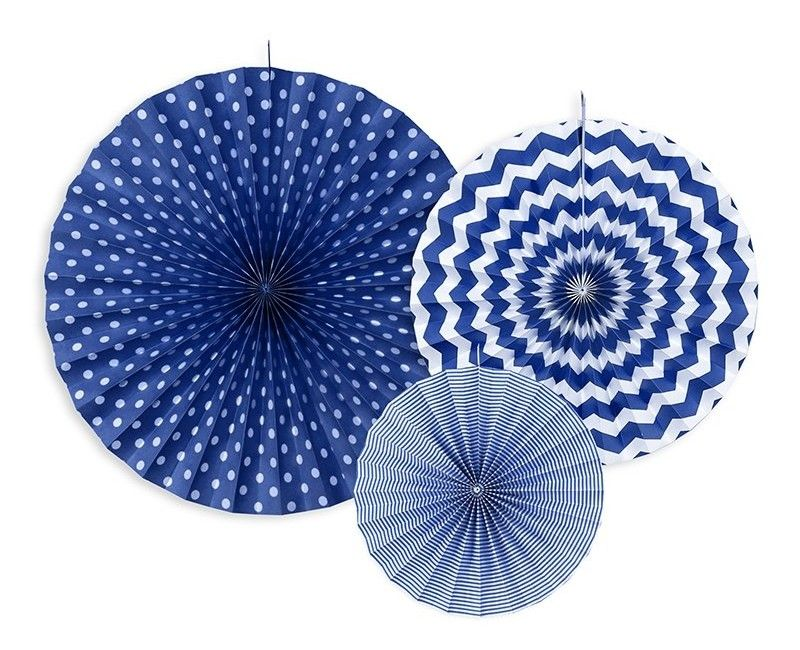Papieren waaier donker blauw mix, 3 stuks