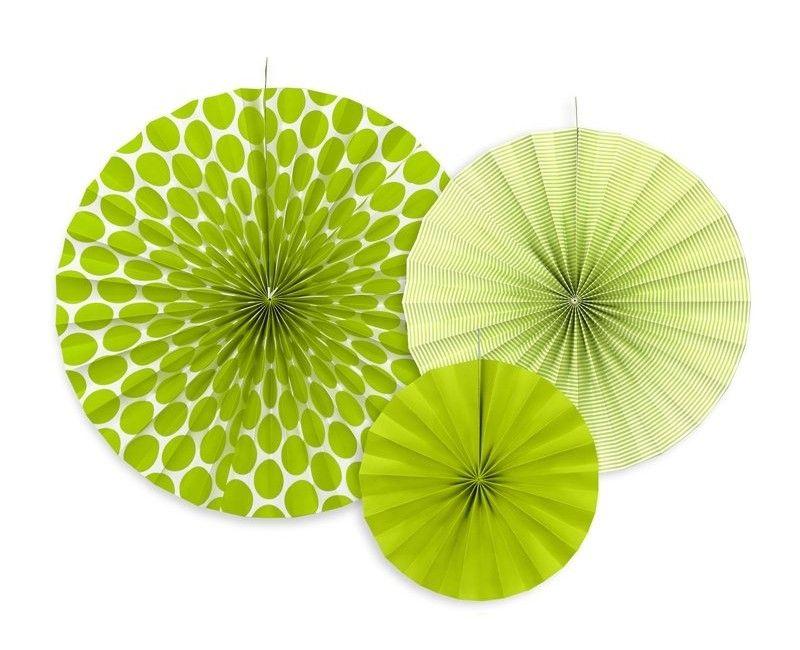 Papieren waaier groen mix, 3 stuks