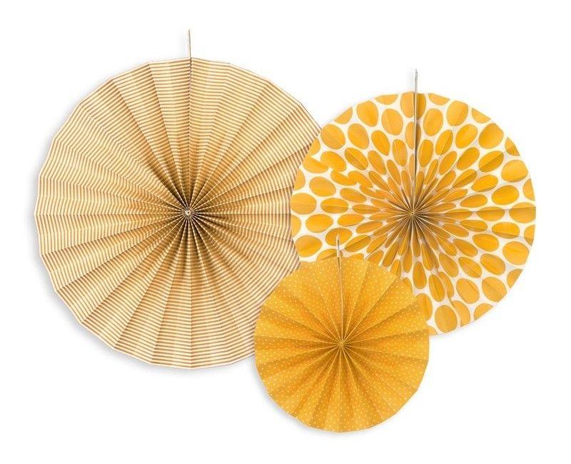 Papieren waaier oranje mix,3 stuks