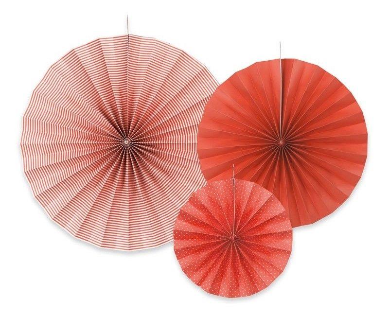 Papieren waaier rood mix, 3 stuks