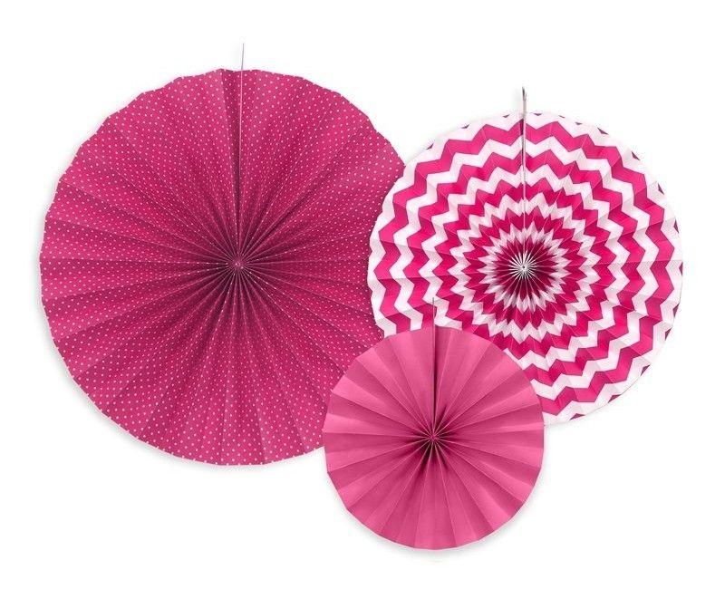 Papieren waaier roze mix, 3 stuks