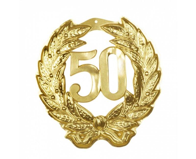 Wanddecoratie jubileum 50 met lauwerkransen goud metallic