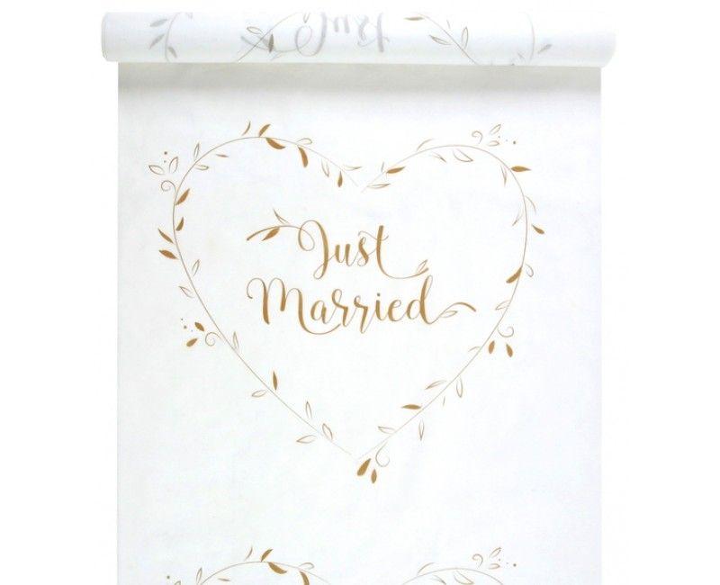 Witte loper met gouden opdruk Just Married, 10 meter
