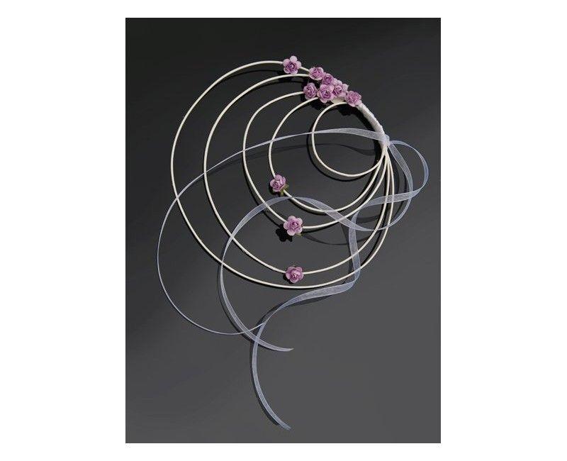 Stoeldecoratie rattan krans roze, 4 stuks