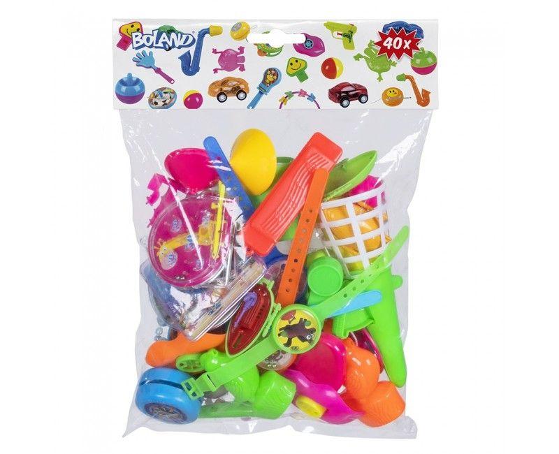 Feestzak met klein speelgoed en spelletjes, 40 stuks