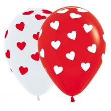 Ballonnen 30cm rood/wit, classic hearts 8 stuks
