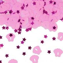 Tafelconfetti roze babyvoetjes