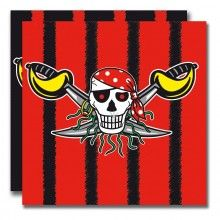 Servetten 33 x 33cm Rode Piraat, 20 stuks