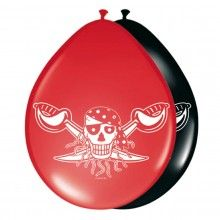Ballonnen Rode Piraat, 8 stuks