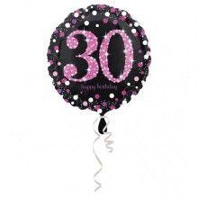 Folieballon sparkling Happy Birthday pink 30 jaar