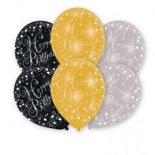 Ballonnen happy birthday zwart zilver goud