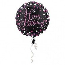 Folieballon sparkling Happy Birthday pink