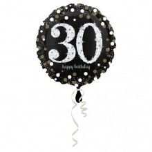 Folieballon sparkling Happy Birthday 30 jaar zwart zilver