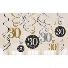 Hangdecoratie sparkling Happy Birthday goud 30 jaar