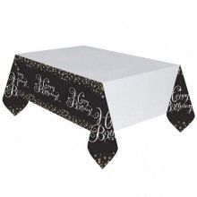 Tafelkleed sparkling Happy Birthday zwart zilver