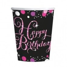 Bekers sparkling Happy Birthday zwart pink glitter