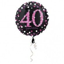 Folieballon sparkling Happy Birthday pink 40 jaar