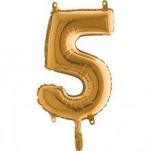 Folieballon 35cm goud cijfer 5
