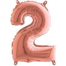 Folieballon 35cm rose gold cijfer 2