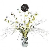 Tafelstandaard sparkling Happy Birthday zwart zilver