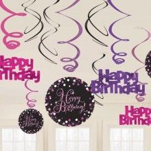 Hangdecoratie sparkling Happy Birthday pink