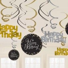 Hangdecoratie sparkling Happy Birthday goud