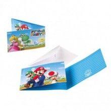 Uitnodigingen Super Mario, 8 stuks