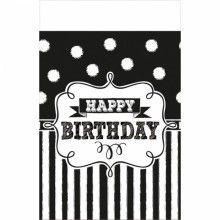 Tafelkleed happy birthday black & white