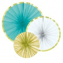 Papieren waaiers Ananas stijl, 3 stuks