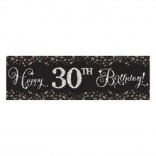 Banier sparkling Happy Birthday zwart zilver met DIY cijfer stickers