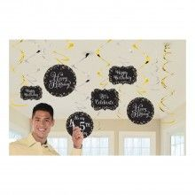 Swirl hangdecoatie sparkling Happy Birthday met DIY cijfer stickers