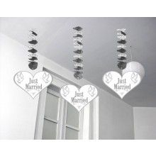 Hangdecoratie Just Married, 3 stuks