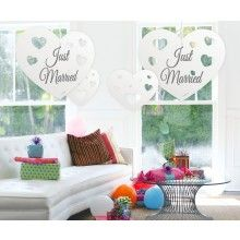 Hangdecoratie papieren harten Just Married, 5 stuks