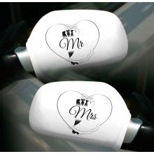 Autospiegel hoezen Mr & Mrs 2 stuks