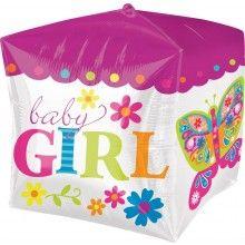 Folieballon Baby Girl kubus