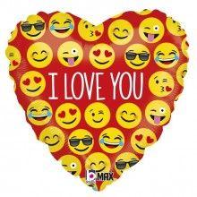 Folieballon 46cm emoticon I love you