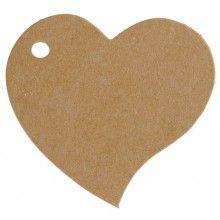 Naamkaartjes kraft hartvormig, 10 stuks