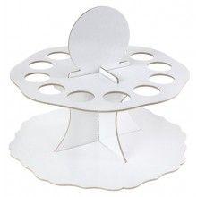 Decoratieve kartonnen houder voor 12 glazen buisjes wit rond, diameter 19cm