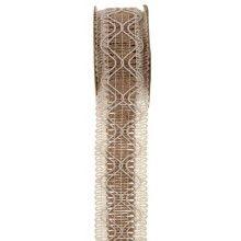 Jute franje lint naturel look 40mm, rol 3 meter