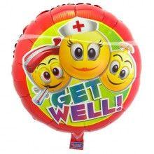 Folieballon emoticon Get well