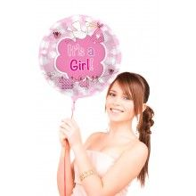 Folieballon rond It's a girl ooievaar