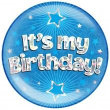 Button XL It's my Birthday! blauw holografisch