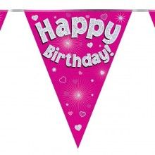 Vlaggenlijn holografisch Happy birthday roze, 3.9 mtr